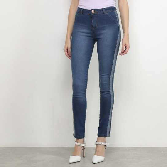 Calça Jeans Coffee Skinny Recorte Lateral Feminina - Azul