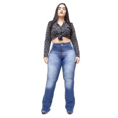 Calça Jeans Credencial Plus Size Flare Grazielly Feminina-Feminino