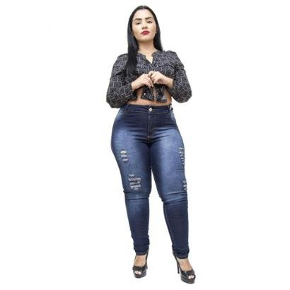 Calça Jeans Credencial Plus Size Rasgadinha Skinny Rael Feminina-Feminino