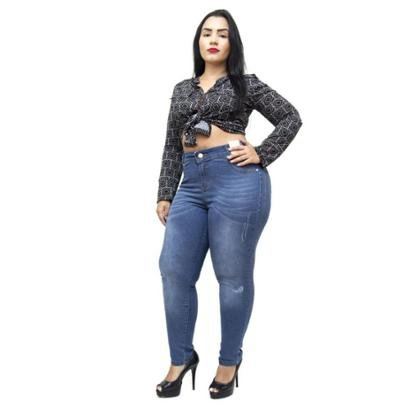 Calça Jeans Credencial Plus Size Skinny Jakelini Feminina-Feminino