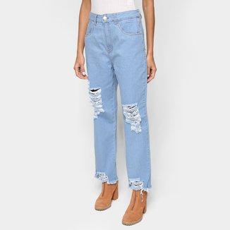 Calça Jeans Cropped Exco Com Puídos Cintura Alta Feminina