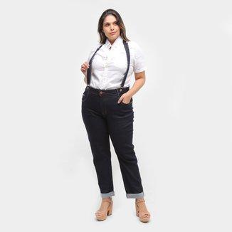 Calça Jeans Cropped Xtra Charmy Plus size Com Suspensório Feminina