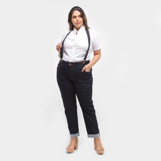 Calça Jeans Cropped Xtra Charmy Plus size Com Suspensório Feminina - Azul