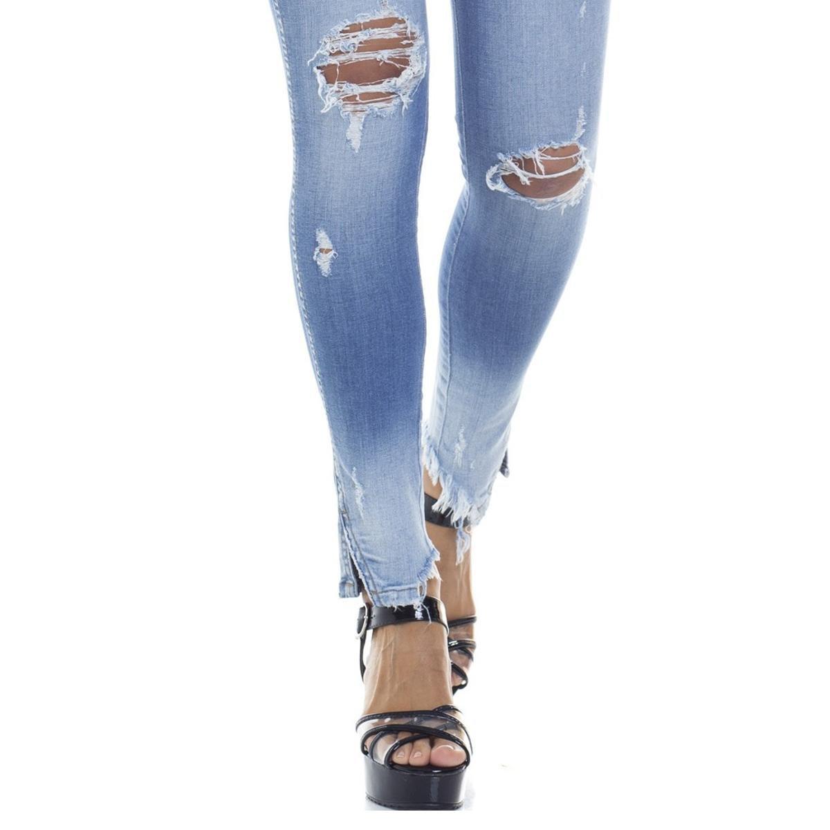 Calça Jeans Denim Zero Skinny Cigarrete Média com Fenda Feminina - Azul