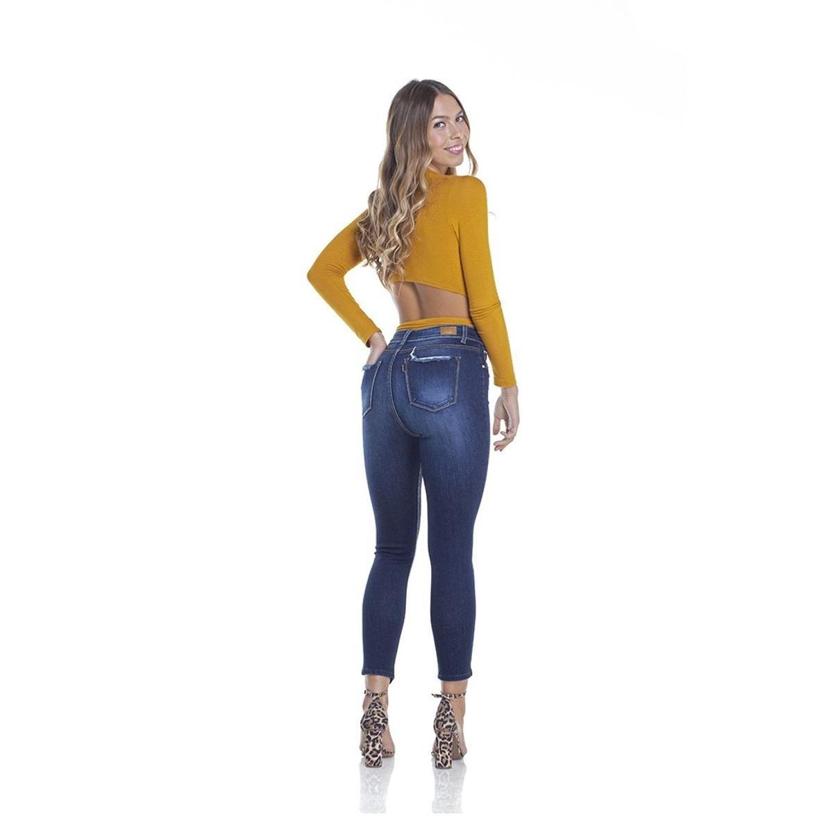 Calça Jeans Denim Zero Skinny Cropped Barra Diferenciada Feminino - Azul