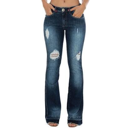 Calça Jeans Denuncia Mid Rise Flare Feminina-Feminino
