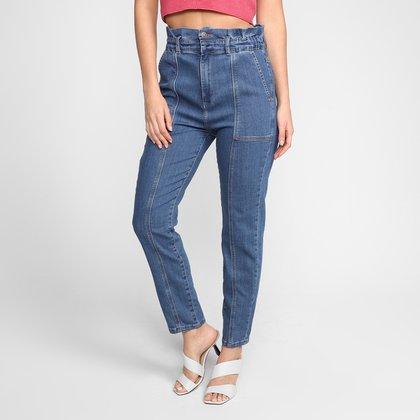 Calça Jeans Dzarm Mom Jeans Cintura Alta Feminina