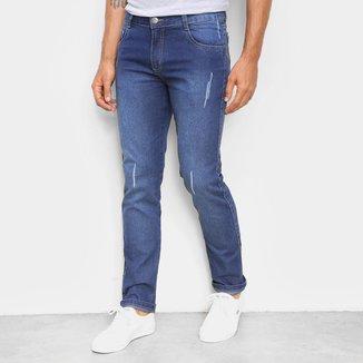 Calça Jeans Ecxo Básica Com Puídos Masculina