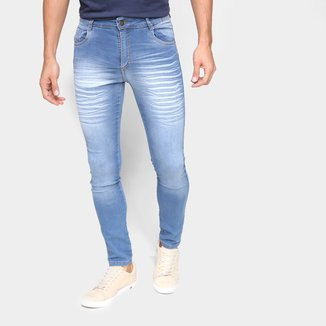 Calça Jeans Ecxo Básica Estonada Cintura Média
