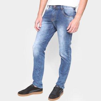 Calça Jeans Ecxo Estonada Puídos Masculina