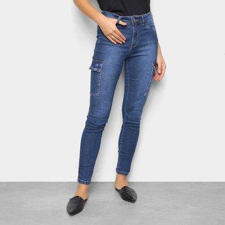 Calça Jeans Ecxo Jogger Cargo Feminina