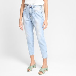 Calça Jeans Ecxo Mom Jeans Estonada Feminina