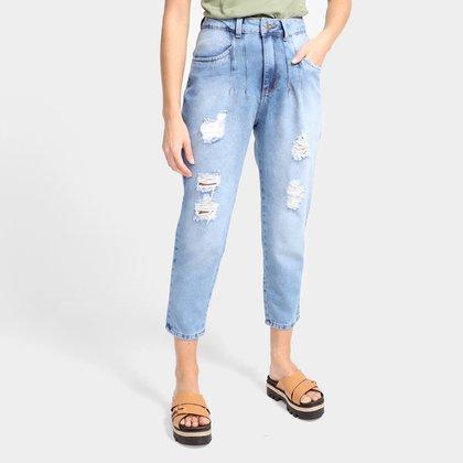 Calça Jeans Ecxo Mom Jeans Rasgada Feminina