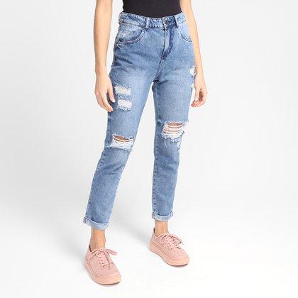 Calça Jeans Ecxo Mom Rasgada Feminina