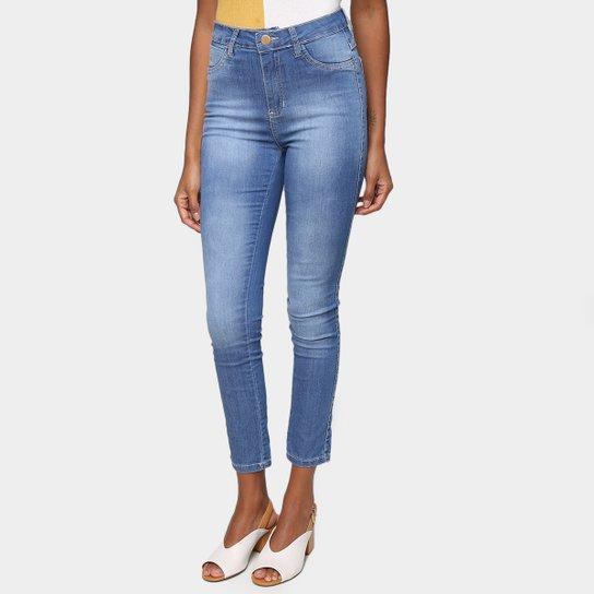 Calça Jeans Ecxo Skinny Lavagem Média Feminina - Azul