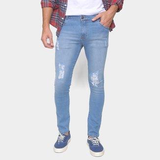 Calça Jeans Ecxo Skinny Rasgada Masculina