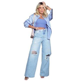 Calça Jeans Equivoco Mom Wide Blake Feminina