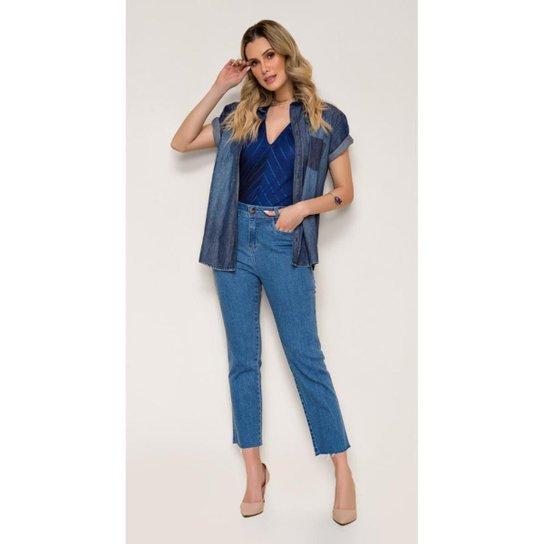 Calça Jeans Express Mom Cenoura Tassia - Azul