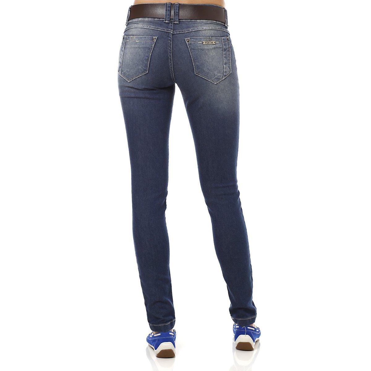 2e68cb48b Calça Jeans Feminina com Cinto Azul - Compre Agora