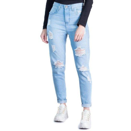Calça Jeans Feminina Max Denim Mom - Azul Claro