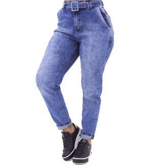 Calça Jeans Feminina Mom Com Cinto em Jeans Clara - Sol Jeans