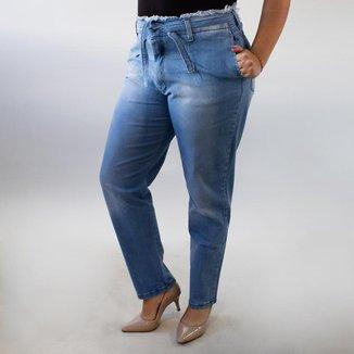 Calça Jeans Feminina Mom Desfiada Com Cinto Alta Anticorpus