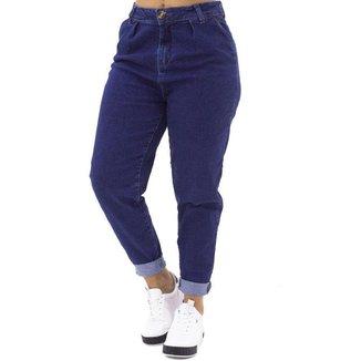 Calça Jeans Feminina Mom Escura com Bolsos traseiro em Botões Suez