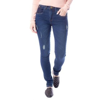 Calça Jeans Feminina TM Denim Justa Azul Escuro