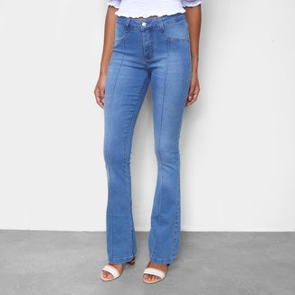 Calça Jeans Flare Cambos Com Nervura Cintura Média Feminina