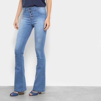 Calça Jeans Flare Coffee Botões Delavê Feminina