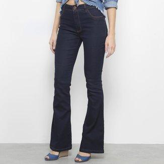 Calça Jeans Flare Coffee Cintura Média Feminina