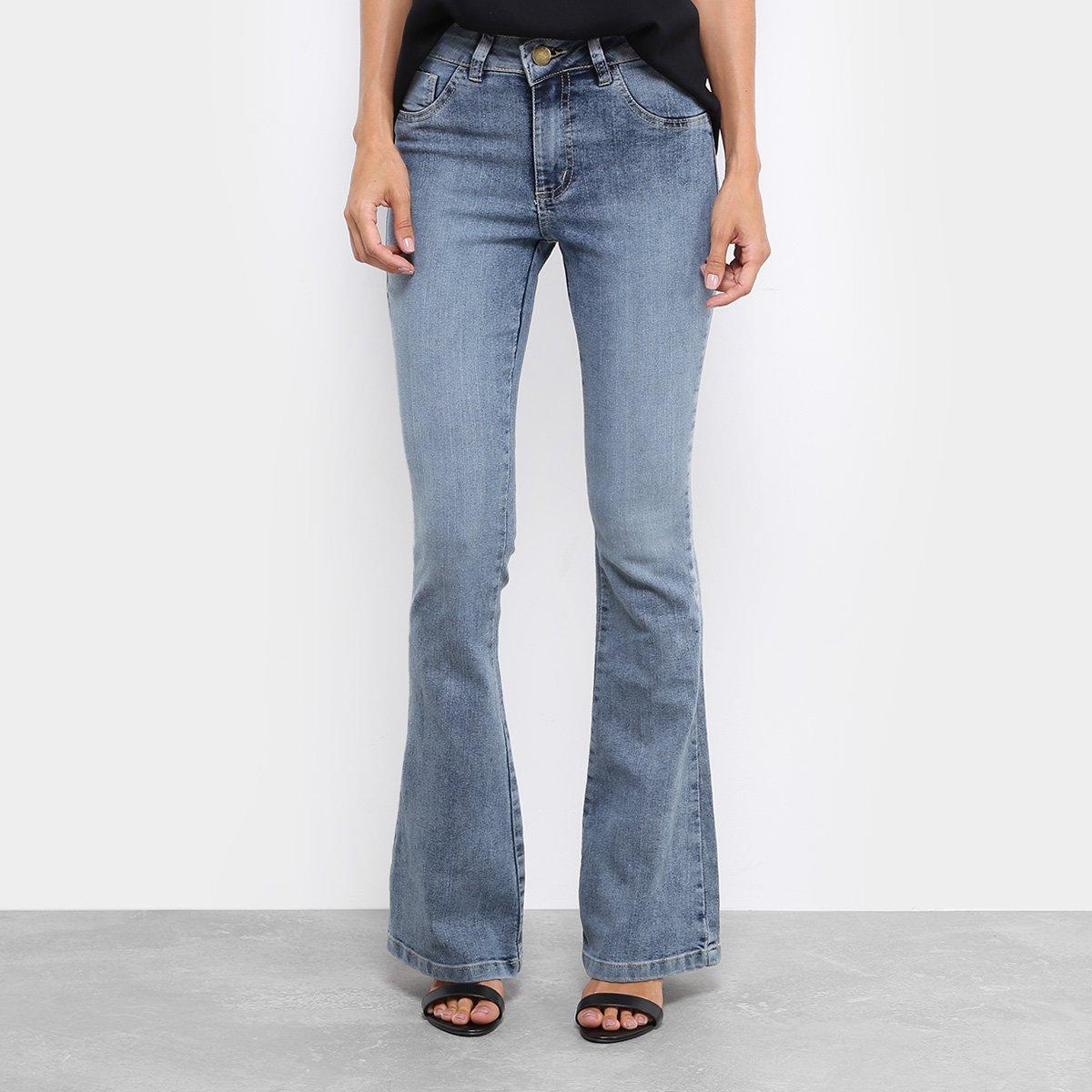Calça Jeans Flare Coffee Estonada Cintura Média Feminina - Compre ... 96533f3e8c