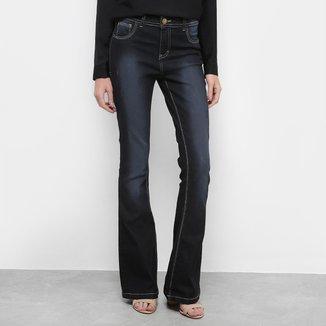 Calça Jeans Flare Coffee Lavagem Escura Cintura Média Feminina