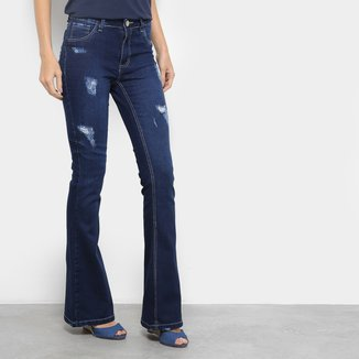 Calça Jeans Flare Coffee Samadi Rasgos Cintura Média Feminina