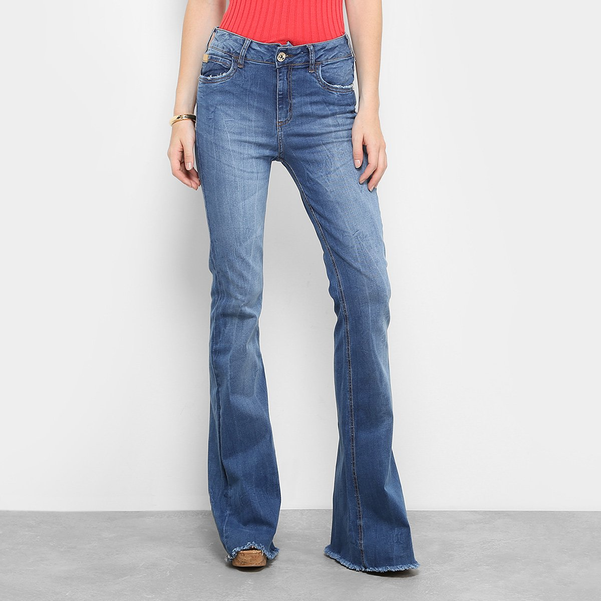 e36366a9a5312 Calça Jeans Flare Colcci Base Bia Rasgada Cintura Alta Feminina ...