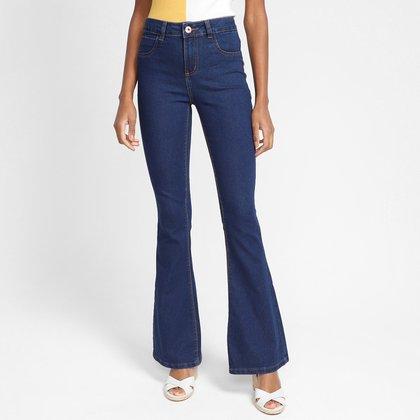 Calça Jeans Flare Grifle Cintura Média Feminina