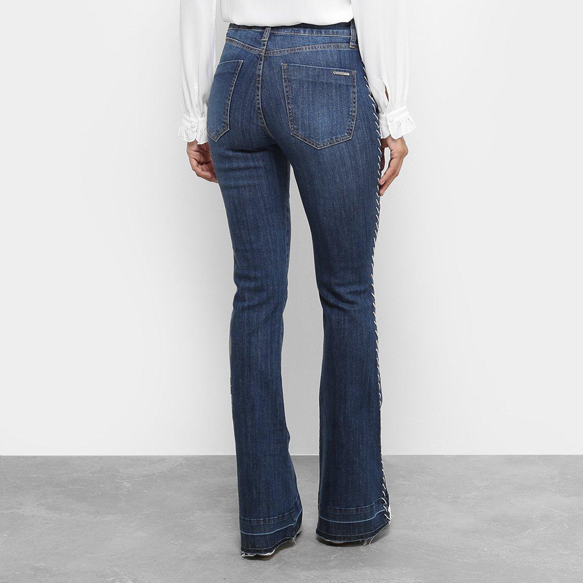 Calça Jeans Flare Mob Bordado Cintura Alta Feminina - Jeans - Compre ... b6f62aeec2
