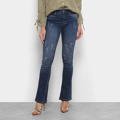 Calça Jeans Flare Razon Estonada Cintura Média Feminina-Feminino