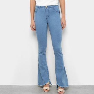 Calça Jeans Grifle Flare Barra Desfiada Feminina
