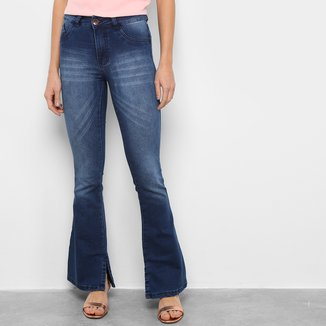 Calça Jeans Grifle Flare Fenda Barra Feminina