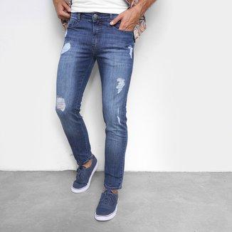 Calça Jeans Hering Slim Destroyed Masculina