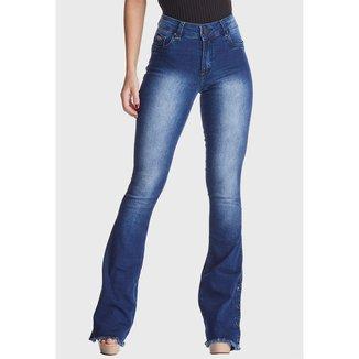 Calça Jeans HNO Jeans Flare com Botão na barra Azul