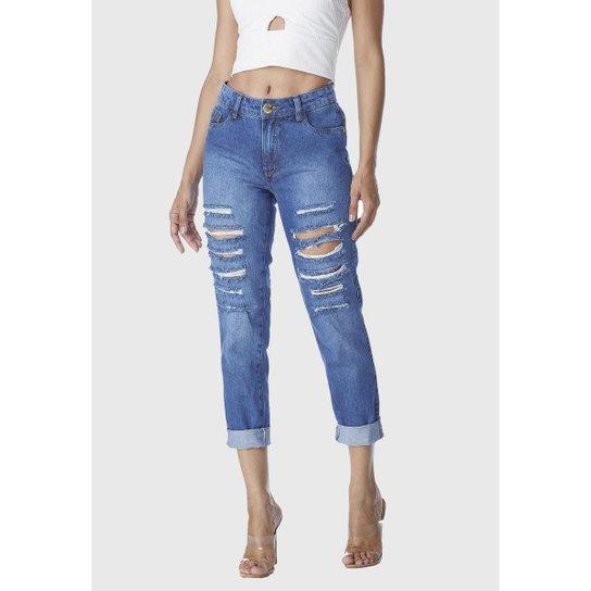 Calça Jeans HNO Mom Estiletada Feminina - Azul