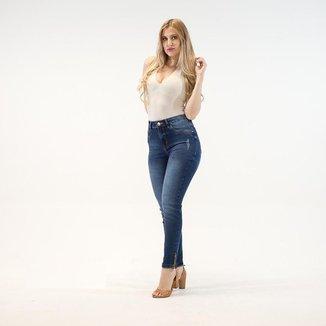 Calça Jeans Imporium Cropped Cintura Alta Cós Alto Feminino