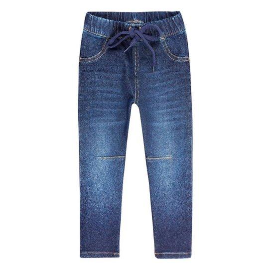 Calça Jeans Infantil Feminino Com Amarração Play Jeans Hering Kids - Azul
