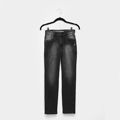 Calça Jeans Infantil Gangster Reta Estonada Masculina