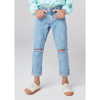 Calça Jeans Infantil Hering com Rasgo no Joelho Feminina