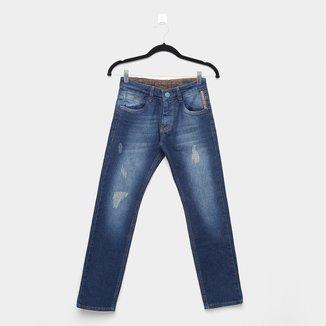 Calça Jeans Infantil Skinny Gangster Estonada Puídos Masculina