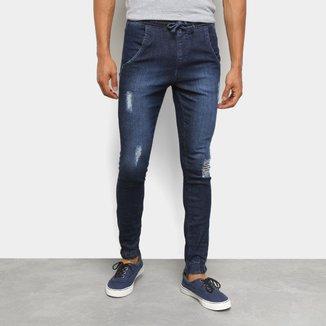 Calça Jeans Jogger Ecxo Puídos Masculina