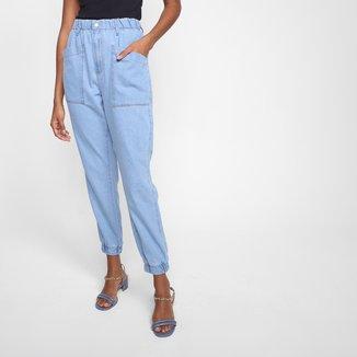 Calça Jeans Jogger Hering Cintura Alta Feminina